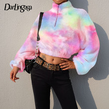 Darlingaga Herfst Winter Faux Fur Teddy Coltrui Sweater Vrouwen Trui Tie Dye Rits Sweatshirts Shaggy Oversized Jumper(China)
