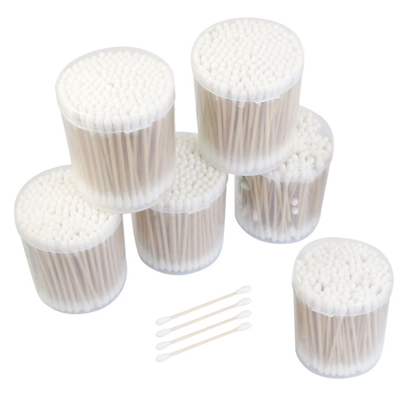 6 Packs Disposable Double Head Wooden Stick Cotton Swabs Buds