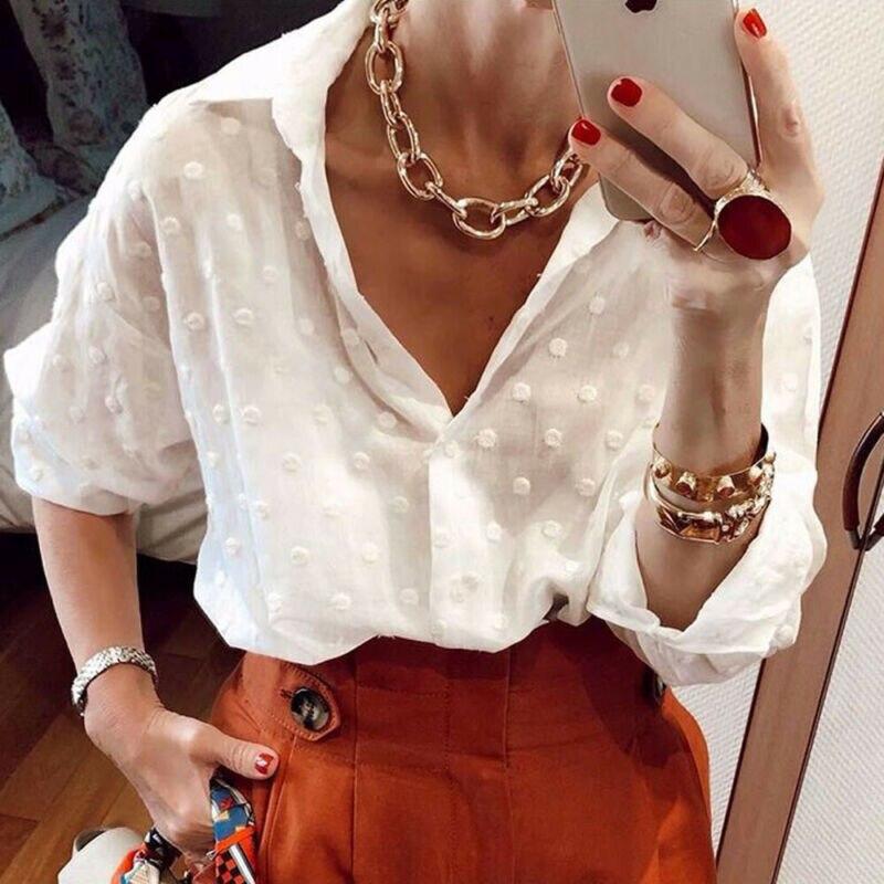 Fashion Women Autumn Long Sleeve Dot Mesh Office Shirt Ladies V-neck Tops Blouse Office Ladies Button Top Shirts Polka Dot Tee