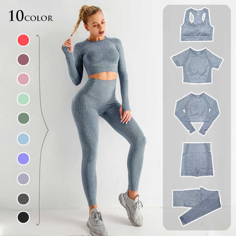 2/3/5PCS Nahtlose Frauen Yoga Set Workout Sportswear Gym Kleidung Fitness Langarm Crop Top Hohe taille Leggings Sport Anzüge