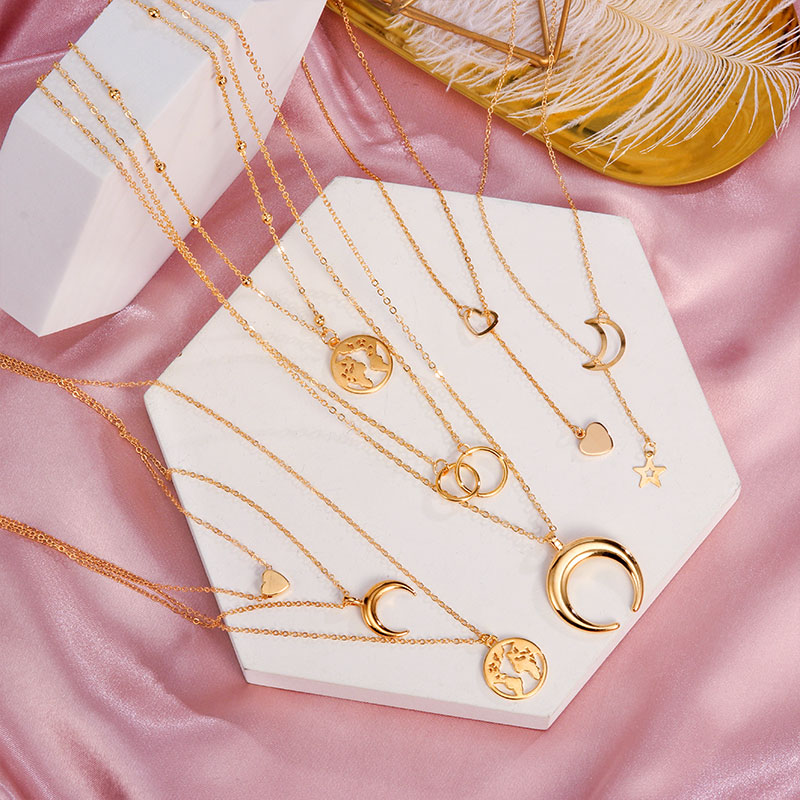 2020 Boho Gold Moon Long Chain Necklace Chokers For Women Multilayer Geometric Cross Pendant Necklaces Statement Party Jewelry(China)