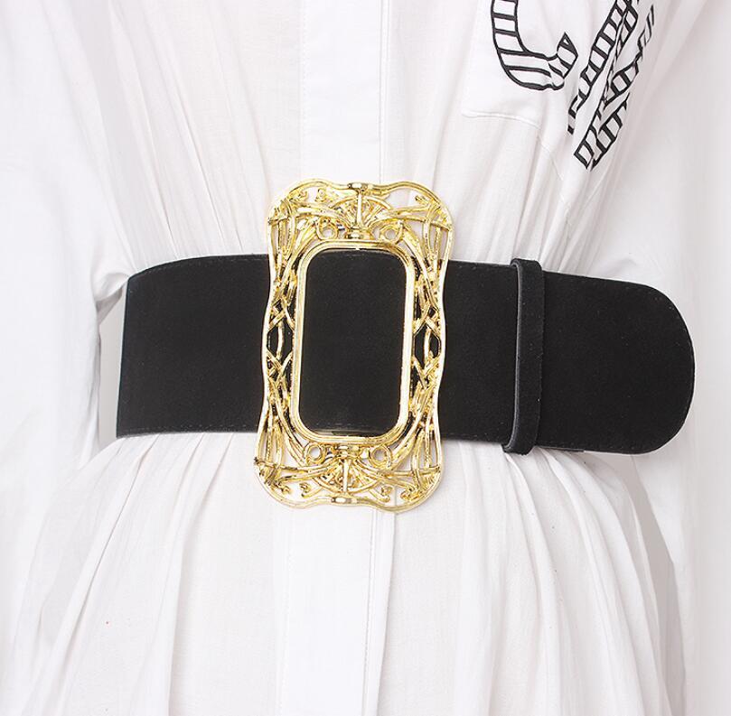 Women's Runway Fashion Faux Suede Leather Cummerbunds Female Dress Corsets Waistband Belts Decoration Wide Belt R1992