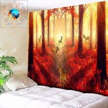 Осенний Лось психоделический гобелен лес настенный подвесной солнце богемное украшение хиппи Гобелен Мандала гобелены покрывало