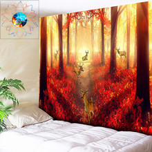 Autumn Elk Psychedelic Tapestry Forest Wall Hanging Sun Boho Decor Hippie Mandala Tapestries Gobelin Bedspread New