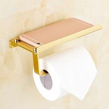 купить Bathroom Toilet Roll Paper Holder Wall Mount Stainless Steel Bathroom WC Paper Telephone Holder Tissue Boxes Storage Shelf Rack дешево