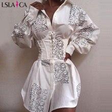 Hot sale women dress long sleeve newspaper print button deco