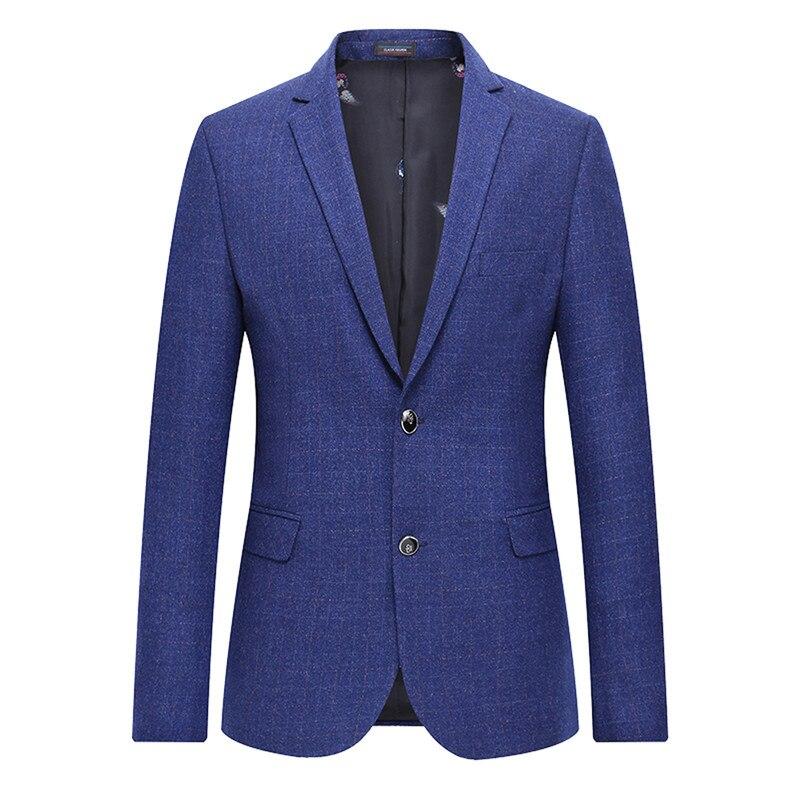 4XL-L Quality Men Blazer Spring 2020 New Slim Fit Plaid Suit Jackets Men Business Casual Formal Wear Blazers Coat Man Plus Size