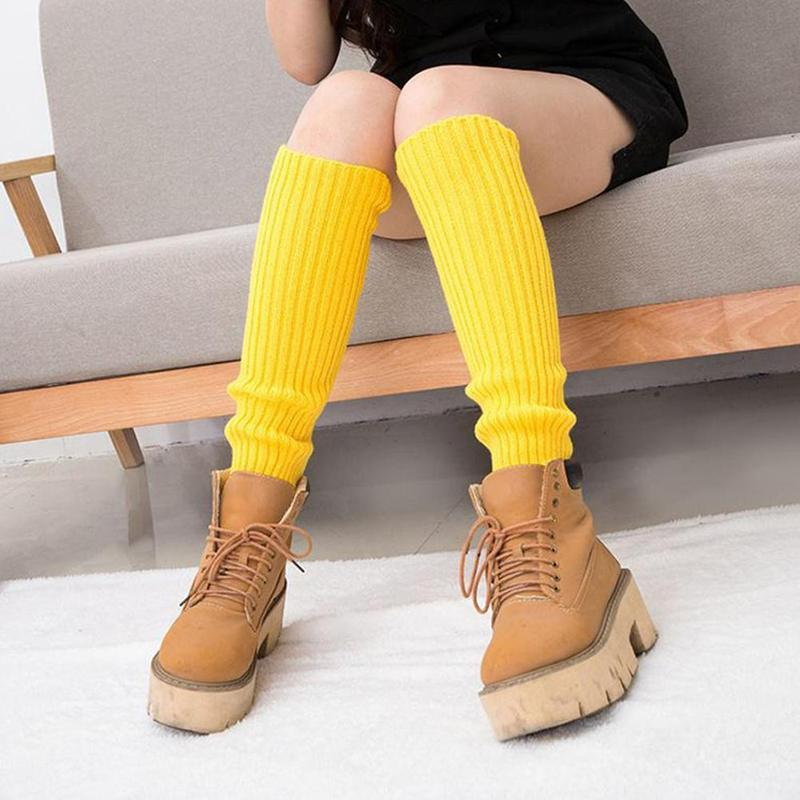 Womens Solid Color Knit Winter Leg Warmers Knee High Legging Boot Leg Disco Dance Party Crochet Legging Socks Costume Hot Sell