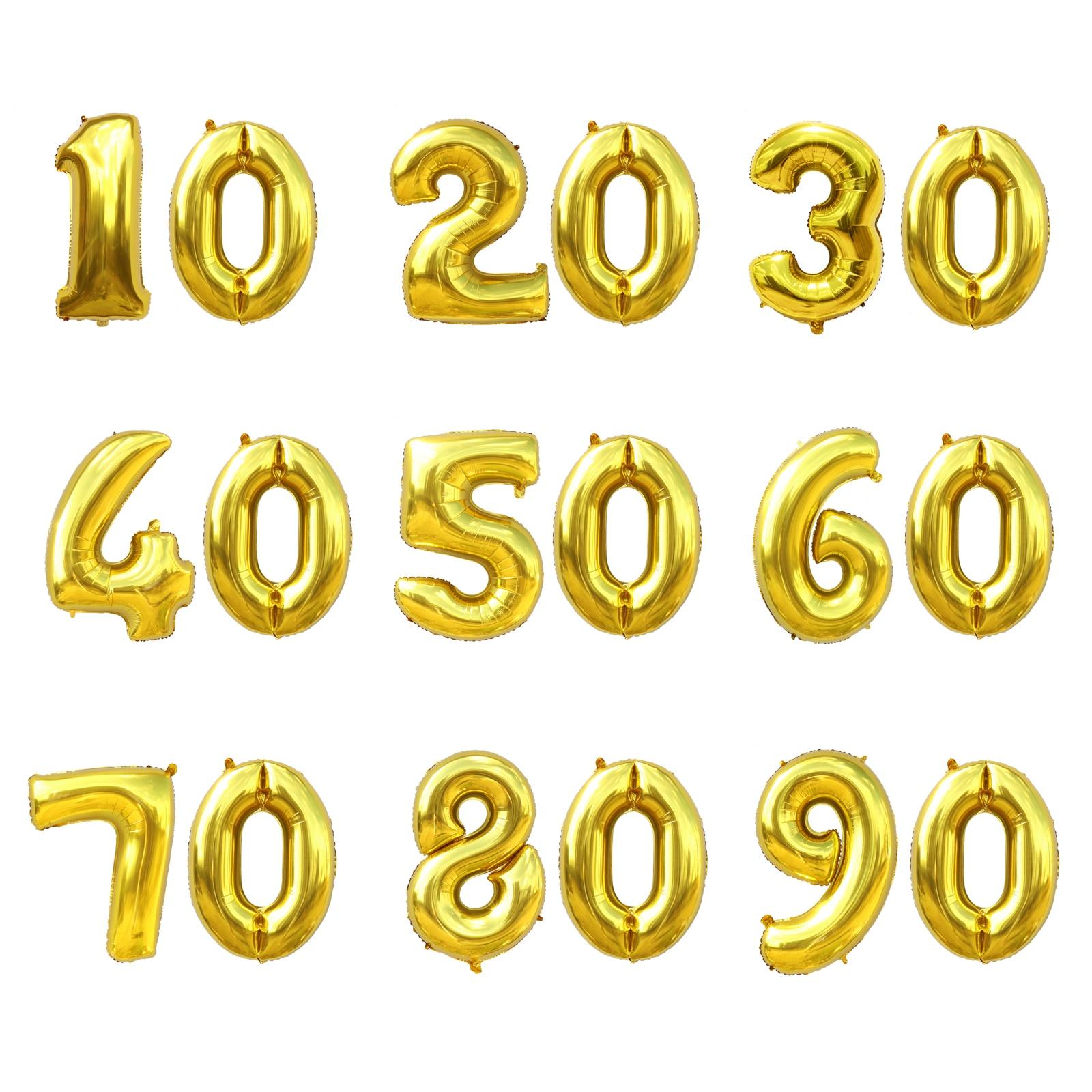 32 pouces numéro aluminium papier ballons fête décoration ballons 10 20 30 40 50 60 70 80 90 ans fête danniversaire bricolage décoration