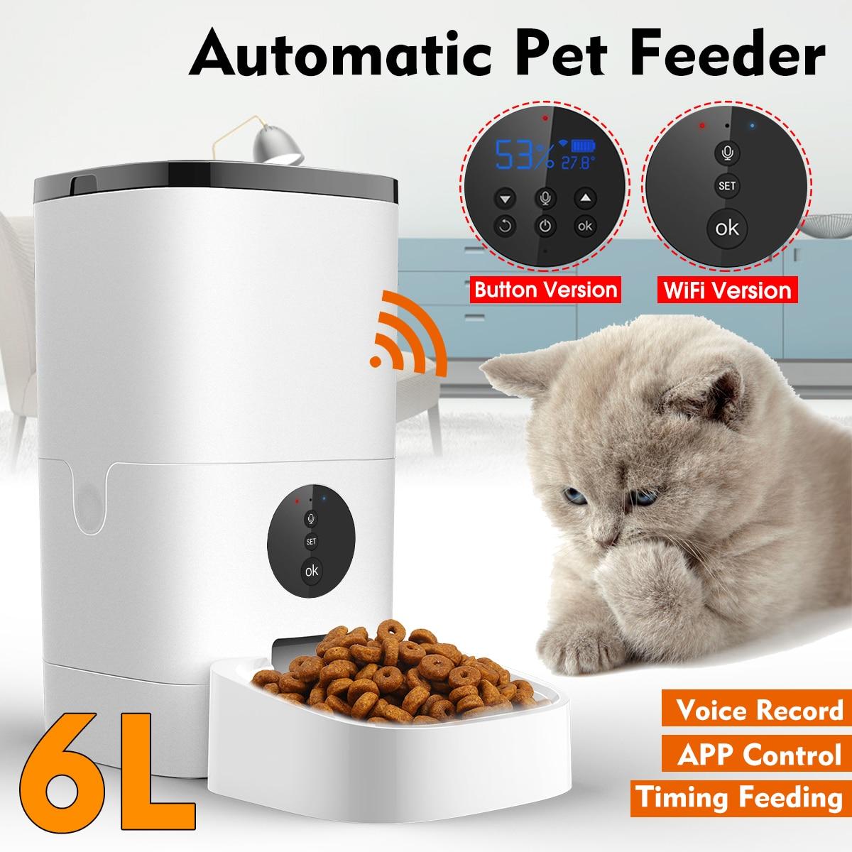 6L alimentatore automatico per animali domestici telecomando intelligente 5s registrazione vocale distributore di cibo per cani gatto [versione WiFi/pulsante] 1