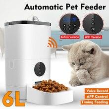 6L Automatic Pet Feeder Smart Remote Control 5S Voice Recording Cat Dog Food Dispenser [WiFi/Button Version]