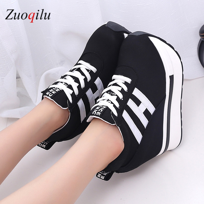 2019 women vulcanized shoes heels platform shoes canvas ladies casual shoes height increasing shoes woman autumn shoes