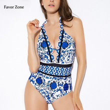 2020 Sexy Swimwear Women Deep V Printed One Piece Swimsuit Backless High Neck Swimsuit Female Bathing Suit Women Push Up Bikinis printed backless plunge neck swimsuit