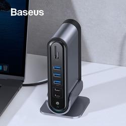 Baseus USB C HUB Type C إلى متعدد HDMI USB 3.0 مع محول الطاقة محطة الإرساء لماك بوك برو RJ45 OTG منافذ USB USB HUB