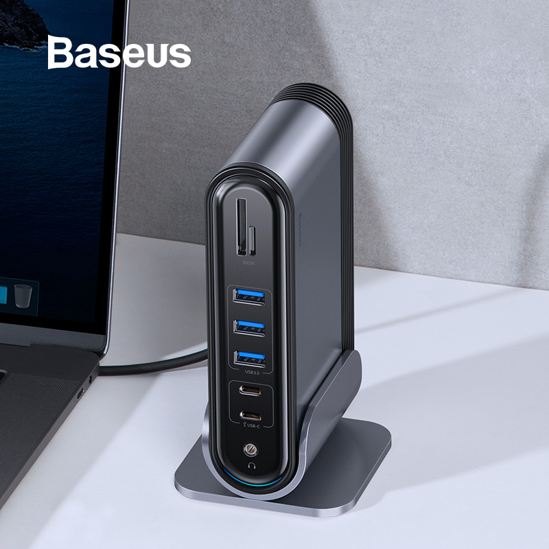 Baseus USB C HUB Type C To Multi HDMI USB 3.0 With Power Adapter Docking Station For MacBook Pro RJ45 OTG USB Ports USB HUB
