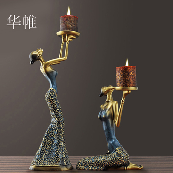 [MGT]Classical Lady Sculpture Candelabra Decorative Polyresin Vintage Candle Holder Dinning Table Art Craft Ornament Accessories