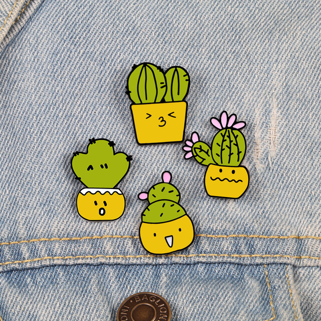 Cactus Brooch Pins Set 1