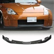 цена на Car Accessories For Nissan 350Z Z33 Late Model URS Carbon Fiber GT Style Front Lip Glossy Fibre Bumper Splitter Under Spoiler