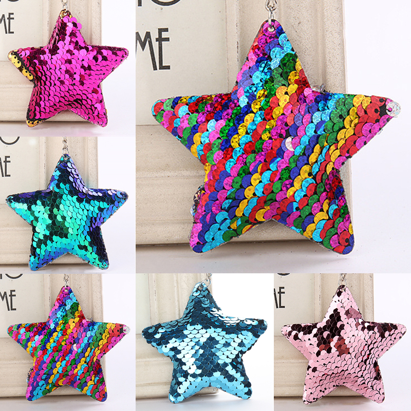 Glitter Sequins Star Key Chain Pendant Birthday Party Gifts Wedding Favors Gifts For Guests Kids Baby Shower Toy Gift Decoration