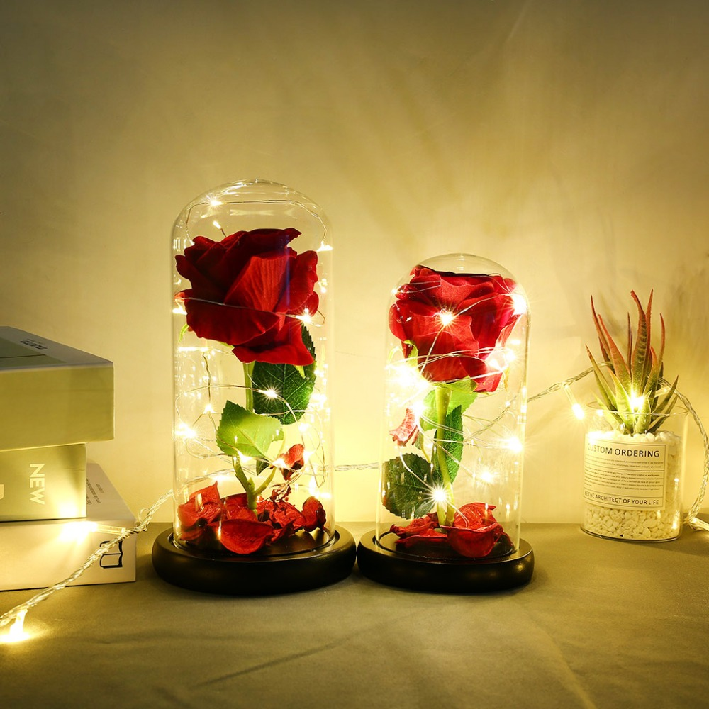 Eternal Flower Glass Cover Beauty And Beast Eternal Flower Rose In Flask 7