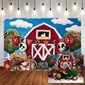 Фон для фотосъемки Mehofond с темой фермы, красный амбар, фоновый фон с животными, день рождения, вечеринка, фотосессия Фотостудия