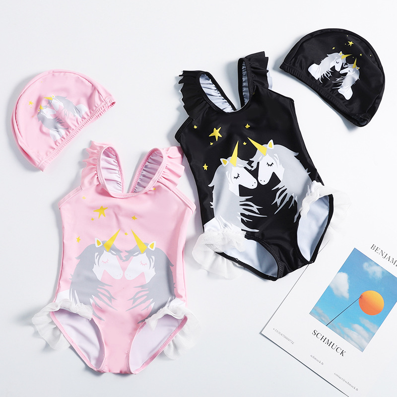 INS Children's Swimwear GIRL'S Small CHILDREN'S Cartoon Unicorn Printed One-piece Baby Infants Swimsuit