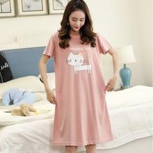 Nightdress female summer sleepwear lady short-sleeved female summer loose casual cute playful cute female