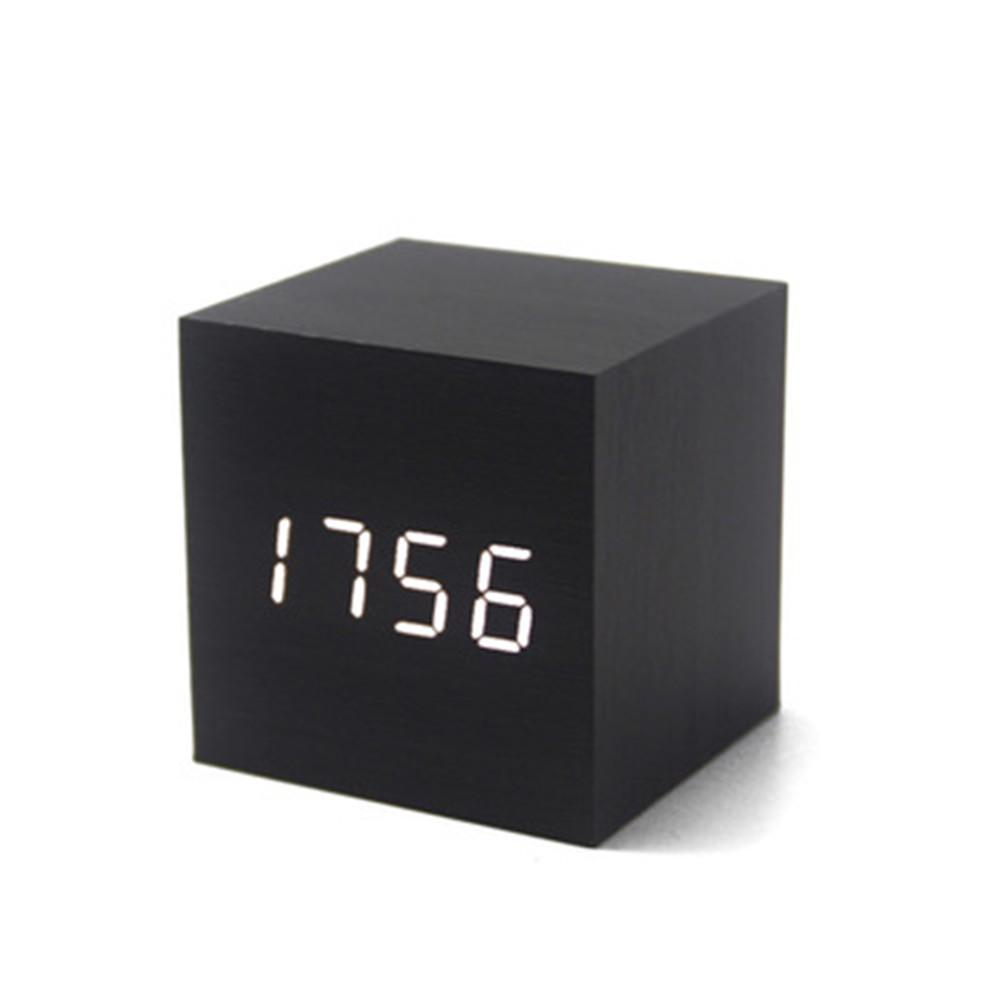 Digital Alarm Clock, Intelligent Voice Control Wooden LED Light Mini Modern Cubic Alarm Clock Showing Time And Date Temperature