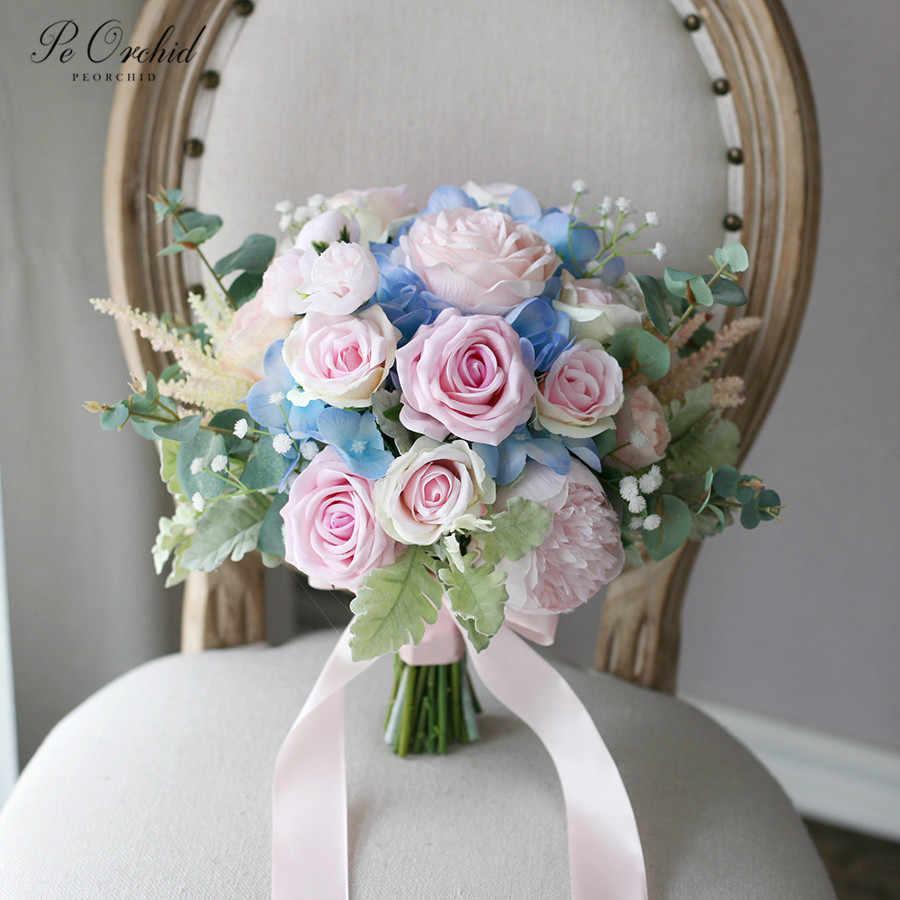 Peorchid Pink Blue Bouquet Bridal Flowers Wedding Bouquet Artificial Hydrangea Peony Rose Bride Holding Flower Wedding Bouquets Aliexpress