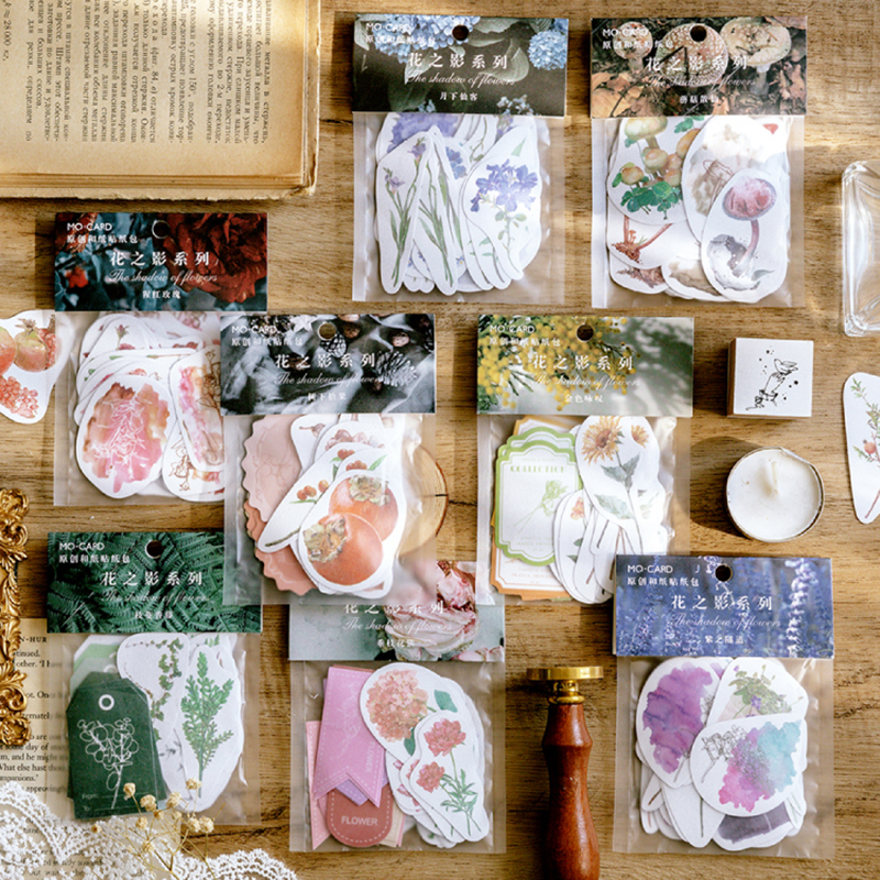 Journamm 40pcs/lot Vintage Stickers Flowers Bullet Journal Decorative Sticker Diary Stationery Album Sticker Flakes Scrapbooking