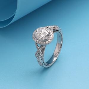 Image 3 - Transgems 14 k 585 branco ouro centro 2ct 7*9mm forma oval f incolor anel de noivado para a faixa feminina com milgrain