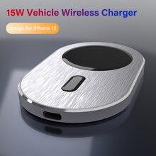 Carregador magnético sem fio 15w qi para carro, suporte para painel de controle de ventilação, para iphone 12 mini pro max, suporte de tomada com adsorção magnética