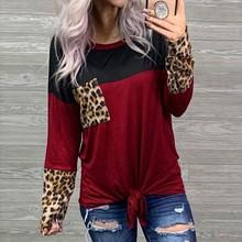 Женская леопардовая футболка с бандажным узлом и карманом, женская комбинированная цветная футболка, Camiseta Mujer, женская футболка с длинным рукавом