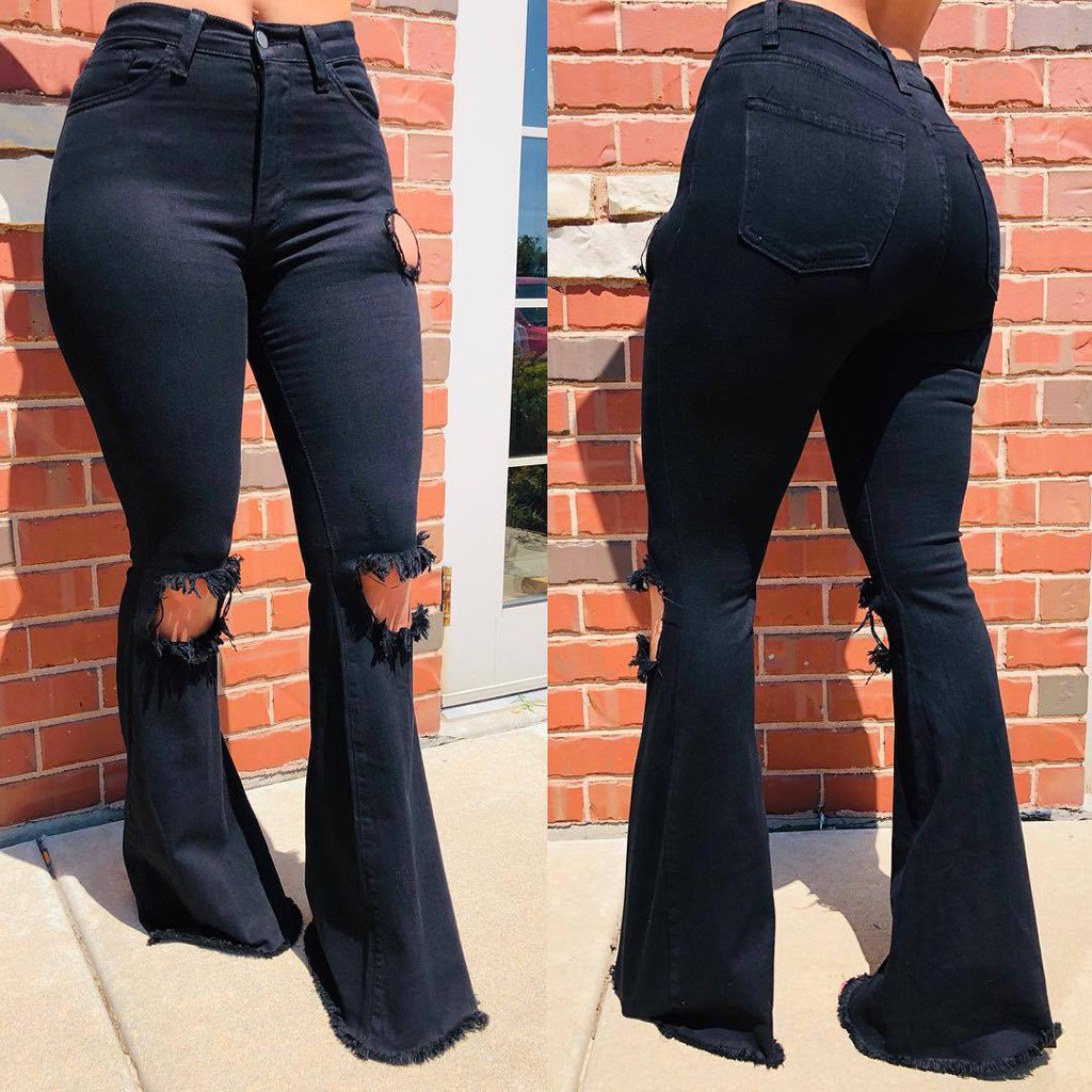 Modernos Pantalones Vaqueros Anchos De Cintura Alta Para Mujer Pantalones Vaqueros Informales Elasticos De Pierna Ancha Para Mujer Pantalones Largos Ajustados Con Agujeros Pantalones Vaqueros Aliexpress