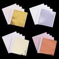 100 stücke 8*8,5 cm Nachahmung Gold Silber Kupfer Folie Papier Blatt Verlässt Blatt Folie Papier Kunst Handwerk Papier vergoldung DIY Handwerk Dekoration