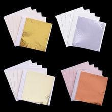 100 Uds 8*8,5 cm Oro de imitación de plata, hoja de cobre de papel hojas de papel Craft artístico dorado bricolaje Decoración