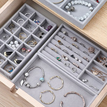 Thick Velvet Jewelry Storage Tray Necklace Ring Bracelet Holder Display Stand Drawer Gray Jewelry Organizer Case Storage Box