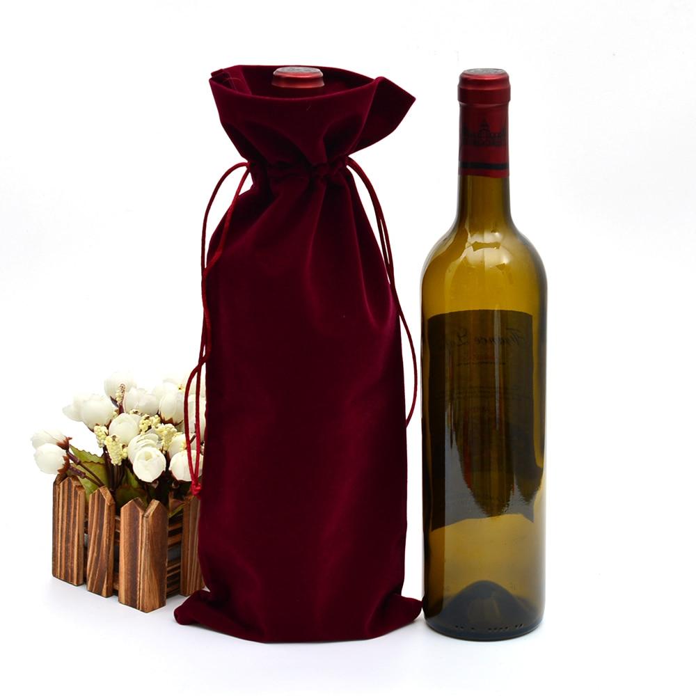 200 Pc 15X37 Cm Fluwelen Wijnfles Covers Flanel Wijn Fles Doek Champagne Blind Fles Wijn Cadeau Zakken wedding Party Groothandel