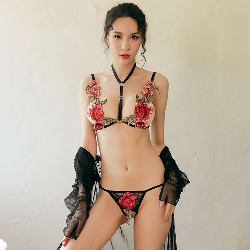 Rose Flower Embroideried Sexy Lingerie Women Erotic Lingerie Porno Costumes Crotchless <font><b>Bikini</b></font> Set Women's <font><b>Sex</b></font> Lenceria image
