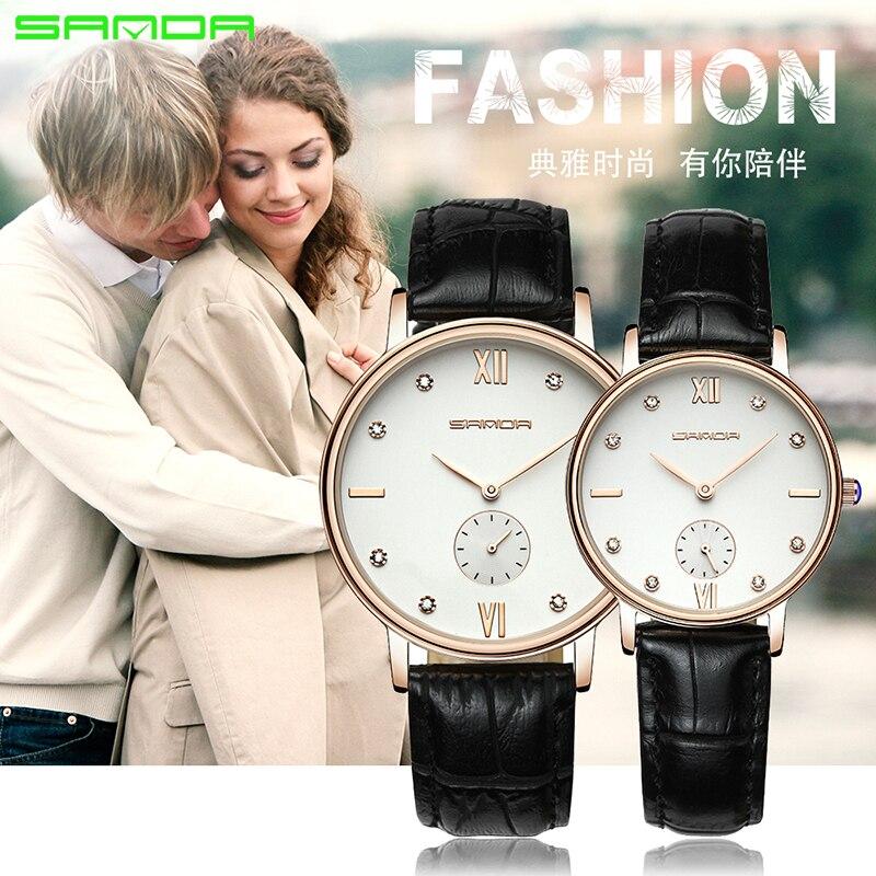SANDA 2019 New 2 Pieces Fashion Couple High Gloss Glass Leather Belt Watch Set Men's Quartz Anti-watch