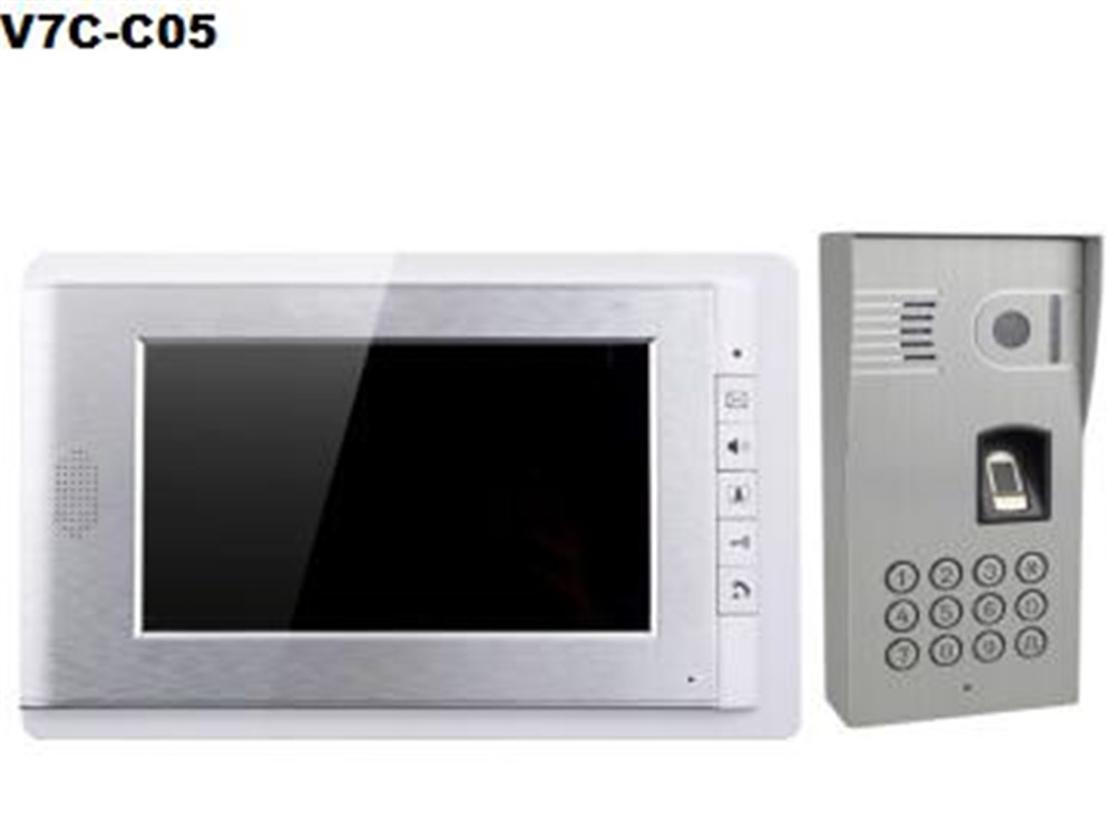 7 Inch Moitor 600TVL  Two Way Intercom ID Card Password/Fingerprint Access Control System V70C-05