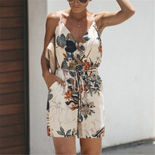Floral Print Playsuits Women Jumpsuit Summer V-Neck Spaghetti Strap Woman Rompers Casual Pockets Overalls Playsuit With Belt недорого