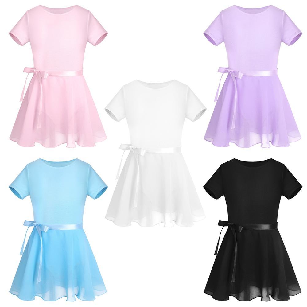 TiaoBug Kids Cotton Short Sleeve Ballet Tutu Dress Ballerina Dance Leotard With Chiffon Ballet Skirt Girl Gymnastics Leotard Set
