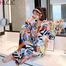 Sleepwear Women Ice Silk Satin Pajamas Set Nightwear Long Sleeve Pajamas Home Clothes Set For women Sleeping Shirt Home Wear