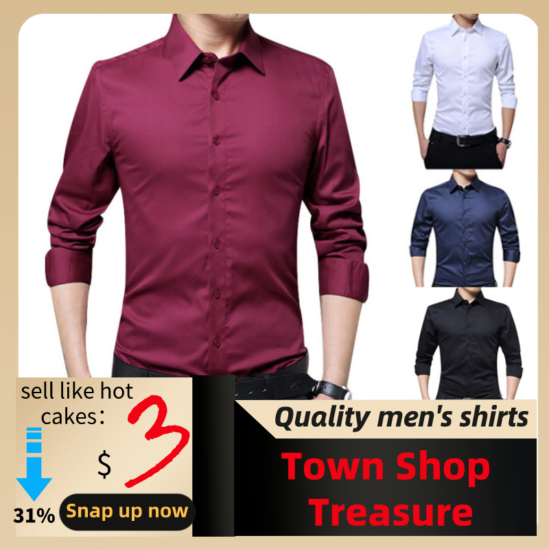 2019 Men's Fashion Casual Long-sleeved Solid Color Shirt Slim Version Male Social Business Dress Shirt Brand Men's Clothing Soft