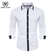 VISADA JUANA 2019 Men's Shirts Brand-clothing Cotton Slim Fit Men's Long Sleeve Dress Shirts Men Clothes Y145(China)