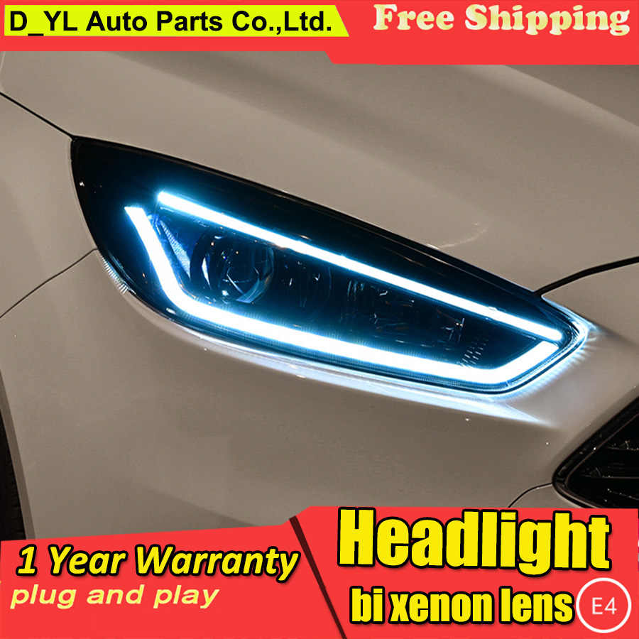 Car styling case for Ford Focus 2015 Headlights LED Headlight DRL LED lens headlamps HID Xenon turnlight running light