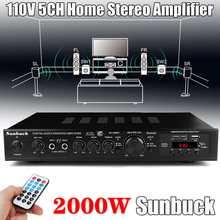 Altavoces estéreo con Bluetooth y sonido envolvente, Subwoofer de 720W y 5 canales con potencia AV de 110V, amplificador Digital LED para Karaoke y cine