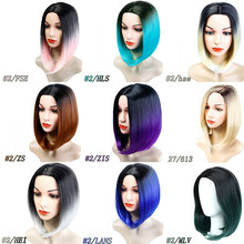 Bob wig with gradual color change Center part No bangs Hair