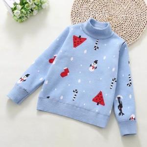 Image 3 - 2020 inverno das crianças roupas meninas camisolas casual impresso engrossar lã de malha do bebê menina pullovers camisola para menina crianças